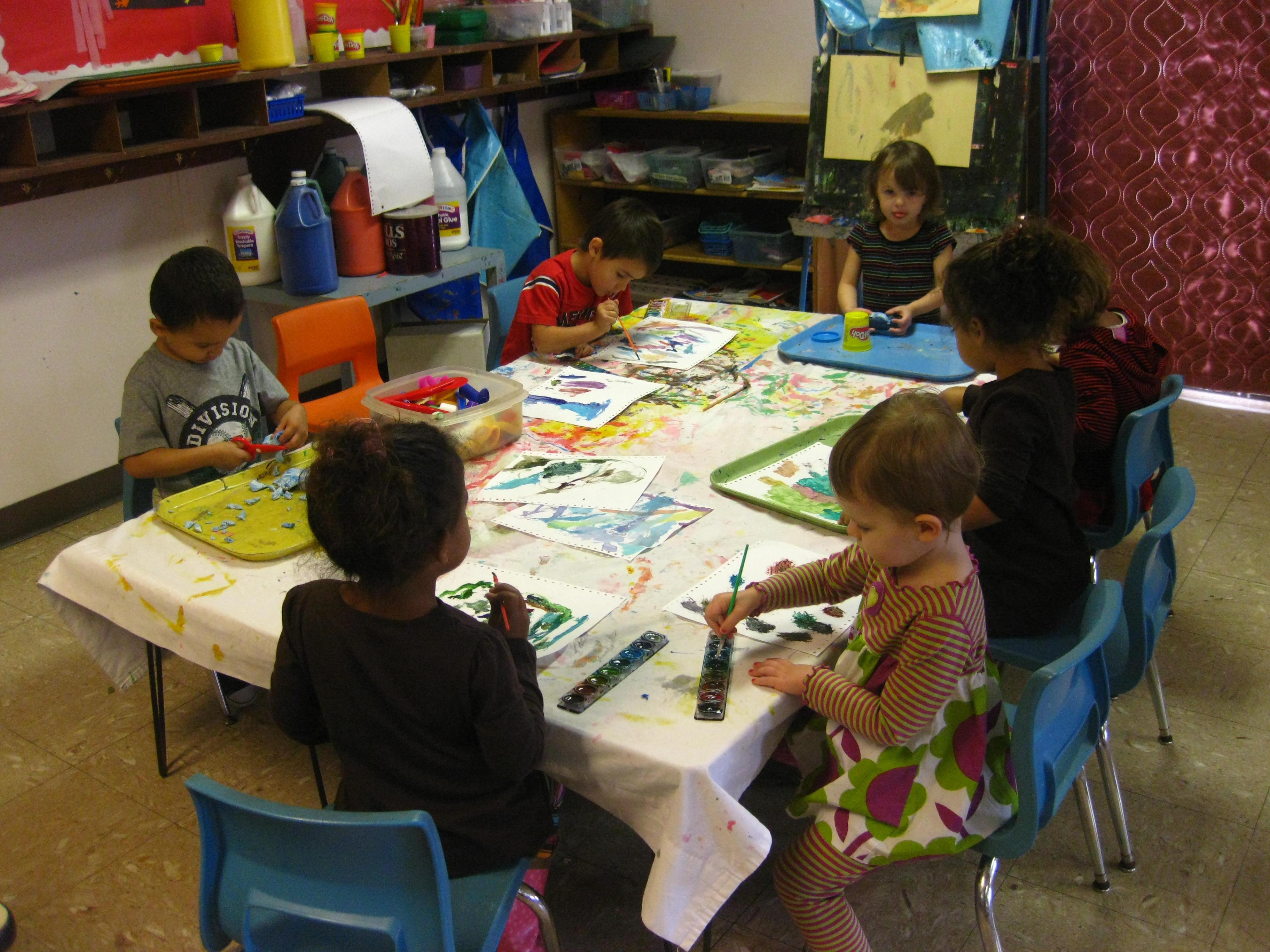 preschool art table. Creative Hands At The Art Table. Preschool Program Table E